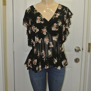 Forever 21 1X Black Floral Ruffle Blouse